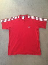 Red Adidas Climate T Shirt - White Stripes - XL - Extra Large