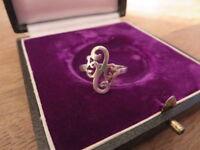 Filigraner 925 Silber Ring Floral Verschnörkelt Organisch Designer Top