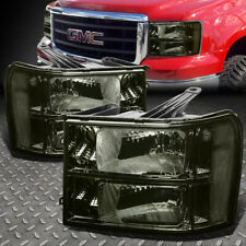 FOR 07-14 GMC SIERRA SMOKED HOUSING CLEAR CORNER HEADLIGHT REPLACEMENT HEAD LAMP