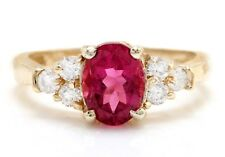 2.40 Carat Natural Tourmaline and Diamonds in 14K Solid Yellow Gold Women Ring