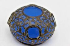 """Antique French Palais Royal Opaline Blue Glass Paperweight w/ Metal Overlay ~ 3"""""""