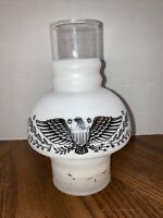 Antique White & Black Eagle American Lamp Shade Gas Light Hurricane Oil Vintage