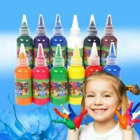 12 Colors Kids Finger Paint Washable Non-Toxic Fingerpaint Liquid Art K4S6