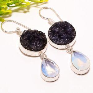 "Black Titanium Druzy Opal Gemstone Ethnic Fashion Jewelry Earring 2.0"" SE1980"
