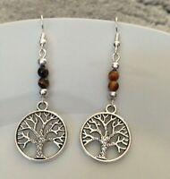 Tibetan silver tree of life & tiger eye dangle earrings, wiccan, boho, pagan UK