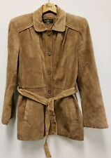 ORVIS Women's Brown Suede Leather Jacket Blazer Size S Small w/ Wooden Hanger