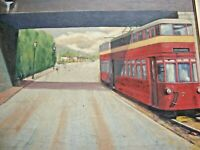 VINTAGE WELSH OIL PAINTING MUMBLES TRAM / TRAIN SIGNED D PEAKE LARGE SIZE