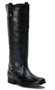 FRYE Melissa Tab Tall Black Leather Riding Boots (3470110-BLK) Women's Size 6.5M