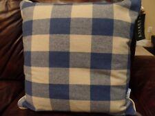 """Ralph Lauren Blue Check Plaid Wool Throw Pillow 19"""" 2 Plaids New"""