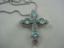 NWOT STERLING SILVER RELIGIOUS CHRISTIAN CROSS WITH GEMSTONES NECKLACE 25.5""