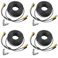 4 x 100ft BNC DVR Black Camera Cord Security Video Power CCTV Cable Surveillance