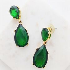 Kenneth Jay Lane Emerald Crystal Drop Earrings