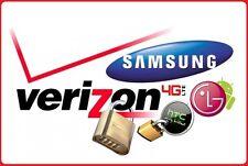 VERIZON Unlock Service Code Samsung Galaxy S5 S6 S7 S8+ NOTE 3,4,5,7 LG 4 G6 V20