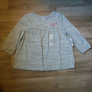 Girls light gray baby doll Tee Shirt size L 10-12  Old Navy 3/4 sleeve new kids