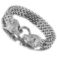"""Biker Wolf Franco Cuban Chain Bracelet 8.66"""" Punk Mens Silver Stainless Steel"""