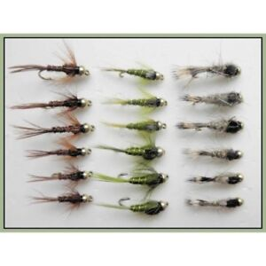 Hares Ear 18 x Flash Heads Small Goldhead Trout Flies Pheasant Tail /& Olives