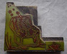 Grand tampon ancien matrice d'imprimerie coffre pirate cadeau jouet