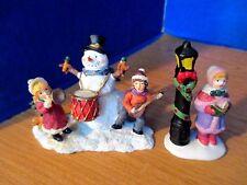 "Lot of 2~Christmas VILLAGE 3"" FIGURINES~Children Musicians, Snowman, Lamp post"