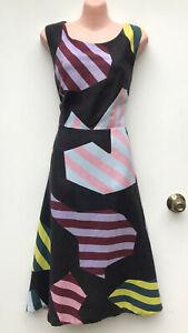 GORMAN Linen Blend Puzzle Dress Midi Length Funky / Arty (Winter 2016) sz 14