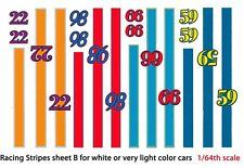 Race Car Stripes and Numbers (B) 1/64th HO Scale Slot Car Waterslide Decals