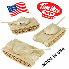 TimMee Processed Plastic M48 Patton Tank: 3 Pack TAN Tim Mee Army Men Vehicles