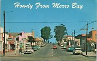 Howdy From Morro Bay California Street Cars Vintage c1950s Postcard - Unposted