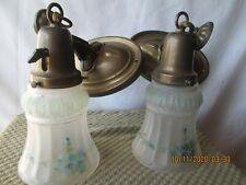 2 Matching Antique Hanging Brass & Glass Light Fixtures (#5)