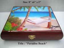New !! Humidor Cigar box with Oil Paintings on Top . Limited Edition