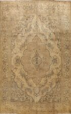 Vintage Muted Floral Traditional Area Rug Distressed Hand-Knotted Wool 10x13 ft