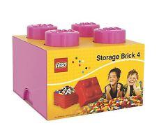 Ladrillo de Almacenamiento LEGO con 4 Perillas Para Niños Toy Box-ROSA