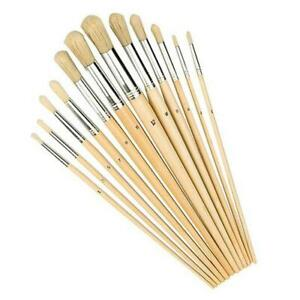 Pack of 12 Artist Round Paint Brushes Set Small & Large Sizes Thin & Thick