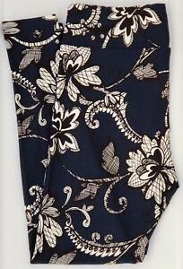 TC LuLaRoe Tall & Curvy Leggings Faux Lace Floral Blue Black White E64