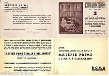 """#""""MATERIE PRIME D'ITALIA E DELL'IMPERO""""- PUBBLICITARIA/ABBONAMENTO RIVISTA"""