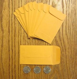 """50 SMALL KRAFT COIN ENVELOPES WITH GUMMED FLAP CHANGE    #3  SIZE 2.5"""" BY 4.25"""""""