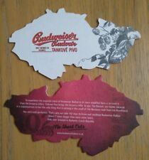 Budvar Budweiser Tankove Pivo Czech Republic Shaped Beer Mat Coaster x2