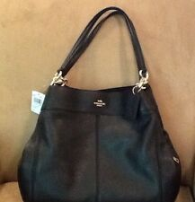 "NWT COACH PEBBLE LEATHER ""LEXY"" SHOULDERBAG IN BLACK - F 28997"