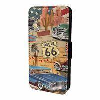 For Mobile Phone Flip Case Cover Retro USA Car Print - S10212
