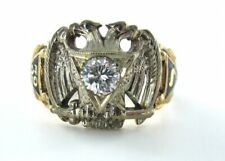 10KT YELLOW GOLD RING MASONIC DIAMOND EAGLE NUMBER 32 CROSS VINTAGE 990050973