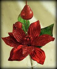 "13.25"" Floral Glitter Christmas Pick - Red Poinsettia, Strawberries & Leaves"