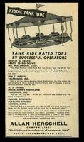 1955 Allan Herschell kids Tank Ride amusement park rides photo trade ad