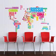 Wandtattoo Sticker Kinderzimmer Farbkarte  Weltkarte Landkarte Atlas Schule