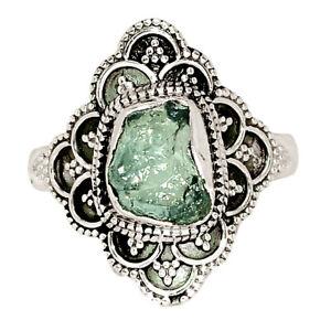 Bali Design - Aquamarine Rough - Brazil 925 Silver Ring Jewelry s.10 BR50165