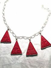 Hand Carved Genuine Red Cinnabar Pendant Silver Vintage Necklace Choker