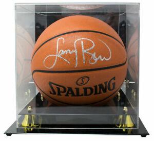 Larry Bird Celtics Signed Spalding Rep Basketball BAS w/ Display Case