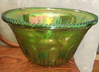 Indiana Glass Harvest Grapes Green Punch Bowl Iridescent Embossed Carnival