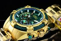 NEW Invicta 52mm Men's Bolt Quartz Chronograph 18K Gold IP Green Dial SS Watch