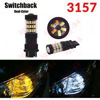 3157 3156 Switchback LED Front Turn Signal Light Bulbs For Dodge Jeep Chrysler