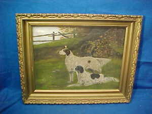 Orig 19thc ENGLISH SETTER-POINTERS Bird Dogs OIL PAINTING on Canvas