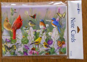 8 Leanin Tree Cards Blank Inside, BIRDS,BUTTERFLIES,CARDINALS,BLUEBIRDS,FINCH +