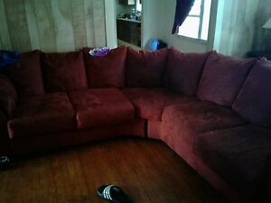 Used Medium Sized Sued Sectional - burnt orange- with wood coffe table, end tabl